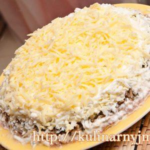 Салат слоеный  «Нежность» с языком и сыром  — для гостей