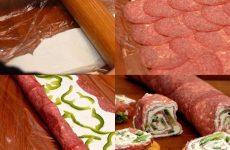 Ролл из салями и сливочного сыра — красивая и вкусная закуска!