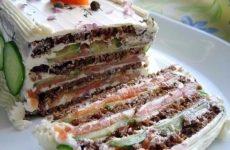 Бутербродный торт с копченым лососем и мягким сыром — красивый и невероятно вкусный тортик!