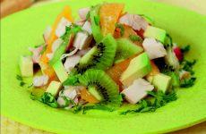 Куриный салат с личи, апельсинами, киви и авокадо — насыщенный вкус и аромат!