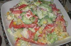 Салат «Фантазия» — замечательный салат, в котором много свежих овощей!