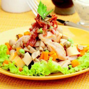 Салат из курицы и ветчины с грибами и овощами — слов нет, вкуснятина!!!