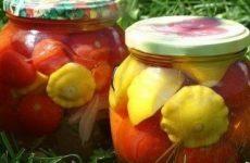 Патиссоны, маринованные с помидорами — очень вкусные!