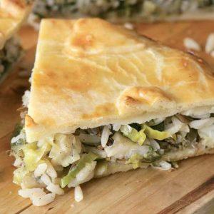 Пирог с судаком, рисом и зеленью!