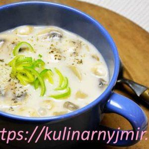 Грибной крем-суп с гренками-равиоли — истинное наслаждение!