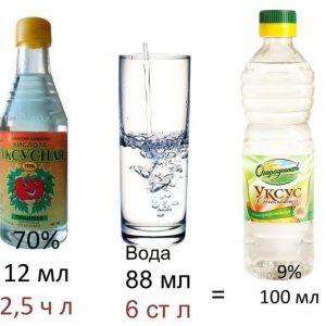 Как правильно развести 9% уксус из 70% уксусной кислоты